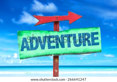 Adventure sign with beach background - stock photo