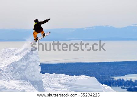 Adventurer's Jumping, Mountain Seymour Ski Resort - stock photo