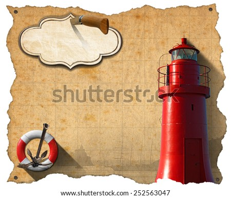 Adventurous Journeys Parchment. Brown parchment with a red lighthouse, lifebuoy, sailing ship, rusty anchor and empty label with pen knife. Concept of adventurous Journeys  - stock photo