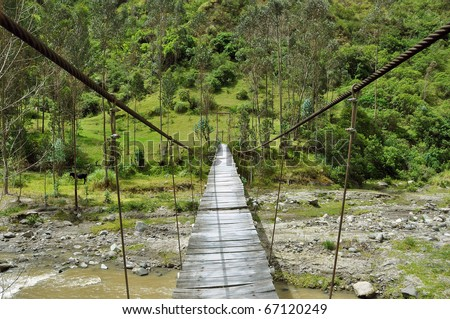 adventurous suspension rope bridge in the rain forest - stock photo