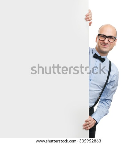 advertisement concept. handsome bald man with blank white board - stock photo