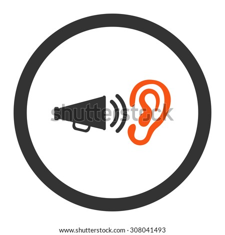 Advertisement glyph icon. This rounded flat symbol is drawn with orange and gray colors on a white background. - stock photo