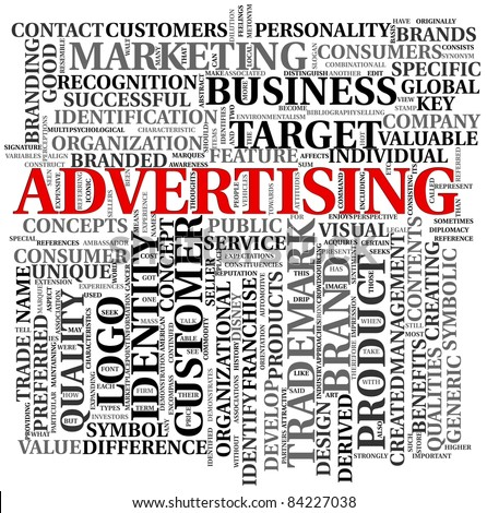 Advertising and brand related words in word tag cloud - stock photo