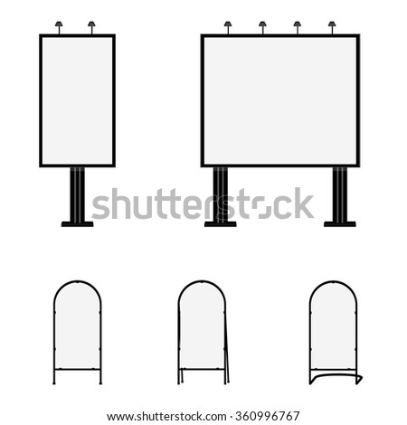 Advertising billboards and sandwich boards. Advertising stand. Mobility signboard raster illustration. - stock photo
