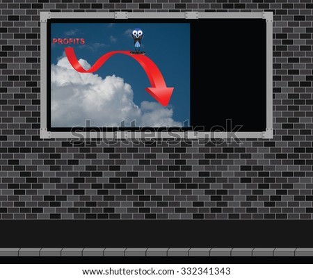 Advertising board on brick wall with representation of profits down with comical bird businessman with copy space on advertising board for own text - stock photo