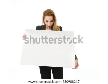 advertising business portrait of attractive blond businesswoman holding blank billboard with copy space looking surprised and happy isolated on white background - stock photo