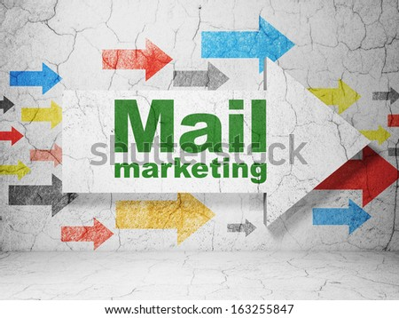 Advertising concept:  arrow whis Mail Marketing on grunge textured concrete wall background, 3d render - stock photo