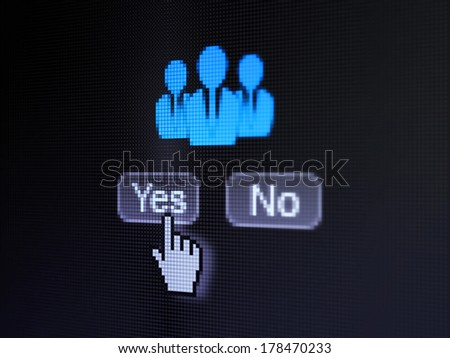 Advertising concept: buttons yes and no with pixelated Business People icon and Hand cursor on digital computer screen, selected focus 3d render - stock photo