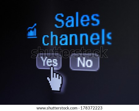 Advertising concept: buttons yes and no with pixelated Growth Graph icon, word Sales Channels and Hand cursor on digital computer screen, selected focus 3d render - stock photo
