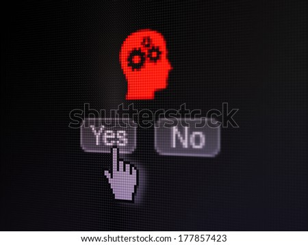 Advertising concept: buttons yes and no with pixelated Head With Gears icon and Hand cursor on digital computer screen, selected focus 3d render - stock photo