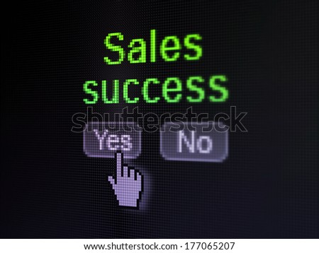 Advertising concept: buttons yes and no with pixelated word Sales Success and Hand cursor on digital computer screen, selected focus 3d render - stock photo