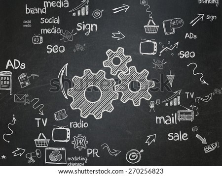 Advertising concept: Chalk White Gears icon on School Board background with Scheme Of Hand Drawn Marketing Icons, 3d render - stock photo