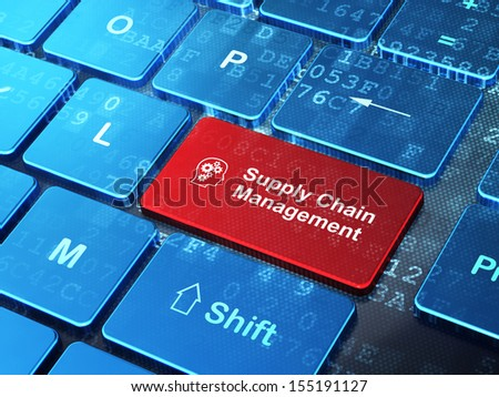 Advertising concept: computer keyboard with Head With Gears icon and word Supply Chain Management on enter button background, 3d render - stock photo