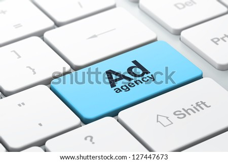 Advertising concept: computer keyboard with word Ad Agency, selected focus on enter button, 3d render - stock photo