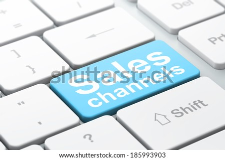 Advertising concept: computer keyboard with word Sales Channels, selected focus on enter button background, 3d render - stock photo
