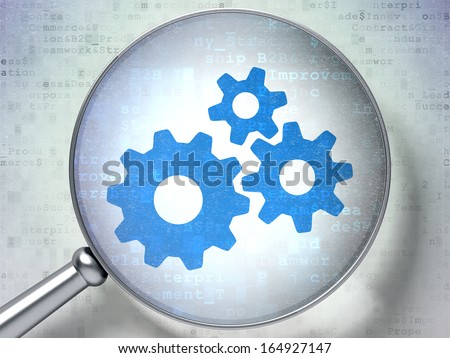 Advertising concept: magnifying optical glass with Gears icon on digital background, 3d render - stock photo