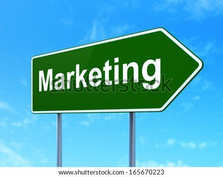 Advertising concept: Marketing on green road (highway) sign, clear blue sky background, 3d render - stock photo