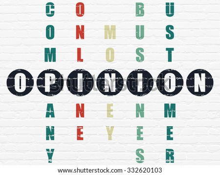 Advertising concept: Painted black word Opinion in solving Crossword Puzzle - stock photo