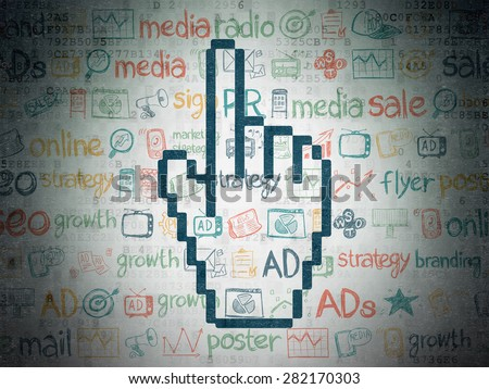 Advertising concept: Painted blue Mouse Cursor icon on Digital Paper background with  Hand Drawn Marketing Icons, 3d render - stock photo