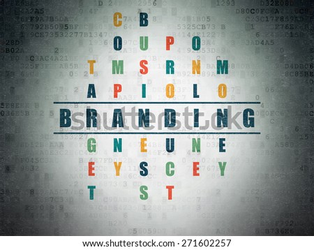 Advertising concept: Painted blue word Branding in solving Crossword Puzzle on Digital Paper background, 3d render - stock photo