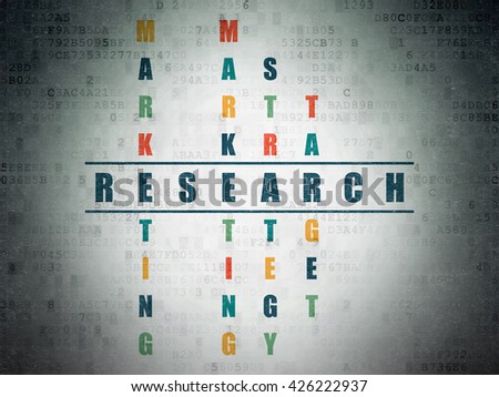 Advertising concept: Painted blue word Research in solving Crossword Puzzle on Digital Data Paper background - stock photo