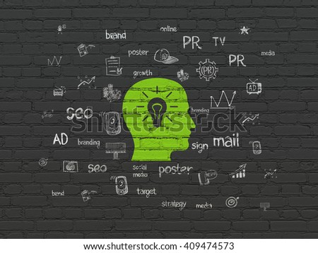 Advertising concept: Painted green Head With Light Bulb icon on Black Brick wall background with  Hand Drawn Marketing Icons - stock photo