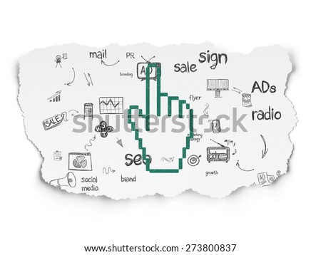 Advertising concept: Painted green Mouse Cursor icon on Torn Paper background with Scheme Of Hand Drawn Marketing Icons, 3d render - stock photo