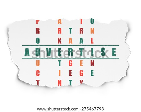 Advertising concept: Painted green word Advertise in solving Crossword Puzzle on Torn Paper background, 3d render - stock photo