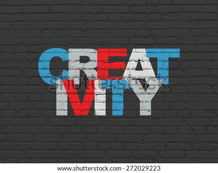 Advertising concept: Painted multicolor text Creativity on Black Brick wall background, 3d render - stock photo