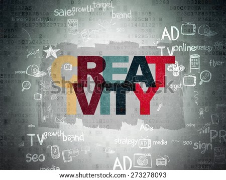 Advertising concept: Painted multicolor text Creativity on Digital Paper background with Scheme Of Hand Drawn Marketing Icons, 3d render - stock photo