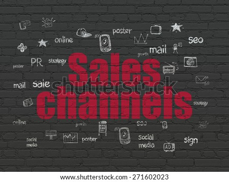 Advertising concept: Painted red text Sales Channels on Black Brick wall background with  Hand Drawn Marketing Icons, 3d render - stock photo