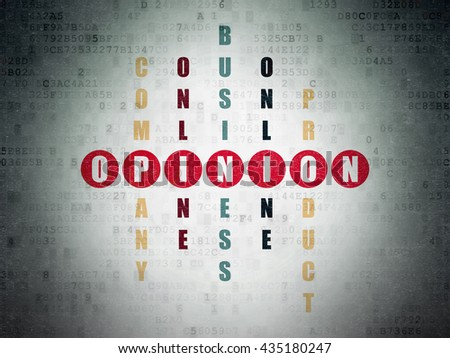 Advertising concept: Painted red word Opinion in solving Crossword Puzzle on Digital Data Paper background - stock photo