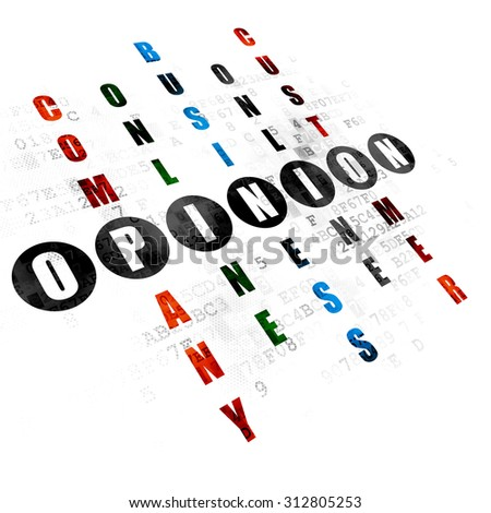 Advertising concept: Pixelated black word Opinion in solving Crossword Puzzle on Digital background - stock photo
