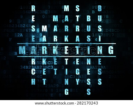 Advertising concept: Pixelated blue word Marketing in solving Crossword Puzzle on Digital background, 3d render - stock photo