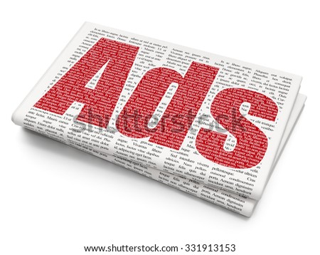 Advertising concept: Pixelated red text Ads on Newspaper background - stock photo