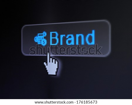 Advertising concept: pixelated words Brand and Calculator icon on button withHand cursor on digital computer screen background, selected focus 3d render - stock photo
