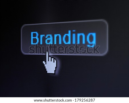 Advertising concept: pixelated words Branding on button with Hand cursor on digital computer screen background, selected focus 3d render - stock photo