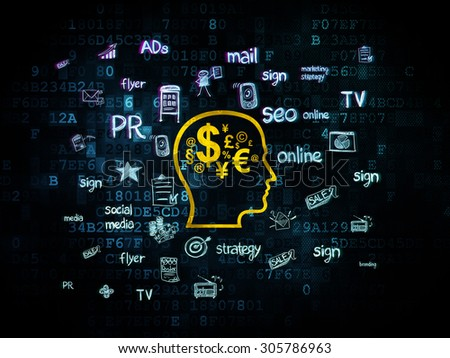 Advertising concept: Pixelated yellow Head With Finance Symbol icon on Digital background with  Hand Drawn Marketing Icons, 3d render - stock photo