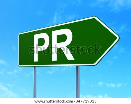 Advertising concept: PR on green road highway sign, clear blue sky background, 3d render - stock photo