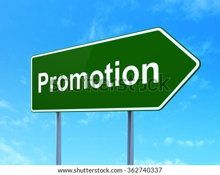 Advertising concept: Promotion on road sign background - stock photo