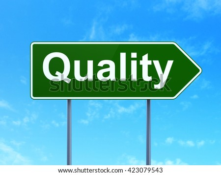 Advertising concept: Quality on green road highway sign, clear blue sky background, 3D rendering - stock photo