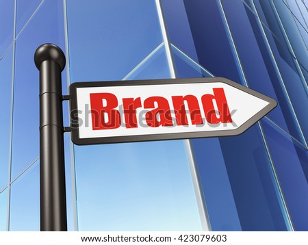 Advertising concept: sign Brand on Building background, 3D rendering - stock photo