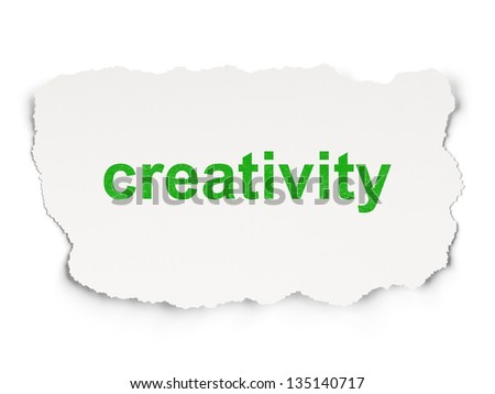 Advertising concept: torn paper with words Creativity on  background, 3d render - stock photo