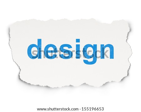 Advertising concept: torn paper with words Design on Paper background, 3d render - stock photo
