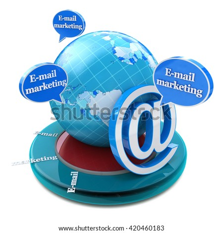 Advertising concept: word E-mail Marketing in speech bubbles in the design of information related to internet. 3d illustration - stock photo