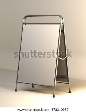 Advertising construction with white surface white advertising stand. vector on white background, Remote outdoor advertising - stock photo