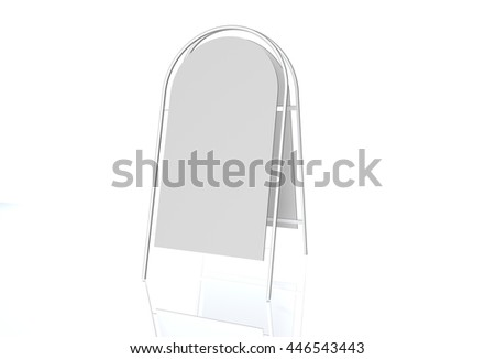 Advertising construction with white surface white advertising stand. vector on white background, Remote outdoor - stock photo