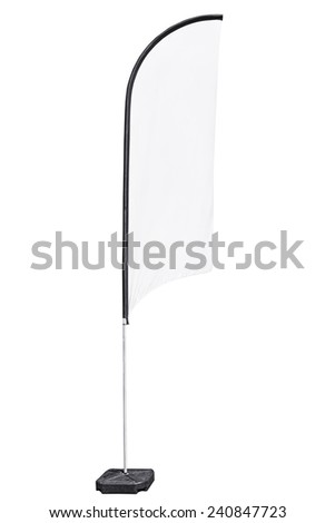 Advertising fabric flag on stand, also called beach flag, with clipping path. - stock photo