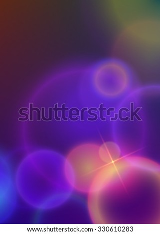 Advertising flyer party design elements. Purple background with elegant graphic blur bright light circles. illustration for template brochure, layout leaflet, cafe menu card - stock photo