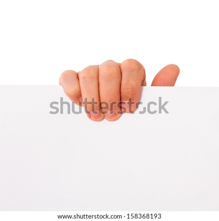Advertising: Hand holding white empty paper - stock photo